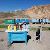 Naryn, Kirghizstan, Mai 2014. Nous revenons du caravansérail de Tash-Rabbat, qui m'a laissé étourdie de joie. Le chauffeur, qui maîtrise autant l'anglais que moi le kirghize, s'arrête. Des deux côtés de la route, d'anciens wagons de chemin de fer transformés en caravanes. Une femme vend des bouteilles d'occasion, remplies de je ne sais quoi. De l'essence, ai-je d'abord pensé, me remémorant les bidons d'essence de Bali et Java. Une heure après, je finis par comprendre que nous avons acheté du lait fermenté. J'y trempe à peine mes lèvres. J'ai encore ce goût sûr sur la langue, apaisé pour le souvenir de cette nomade joviale, qui, elle, n'a pas du tout l'impression d'être l'une des dernières représentantes du monde d'hier. De plus en plus de camionneurs Chinois passent sur cette route, et c'est probablement le plus important.