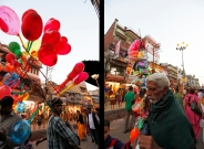 My next meeting with fireworks: Delhi and the DIwali, a lights festival when people use so many fireworks that it become an air pollution issue. For weeks later, in Veranasi (Benares), I'll pass by skinny Indians selling colorful balloons. What a crepuscular luna park…