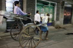 India - Calcutta - In theory those hand cars are forbidden. It doesn't bother much our businessman